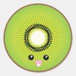 Kawaii Kiwi Round Sticker