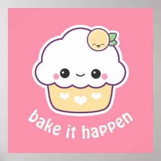 Kawaii Lemon Cupcake Poster