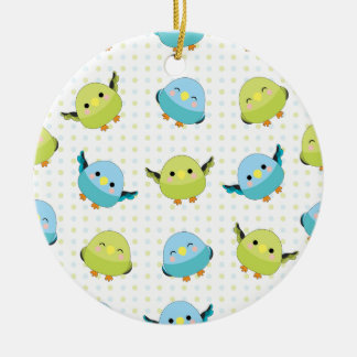 Kawaii Lineolated Parakeet Gear Ceramic Ornament