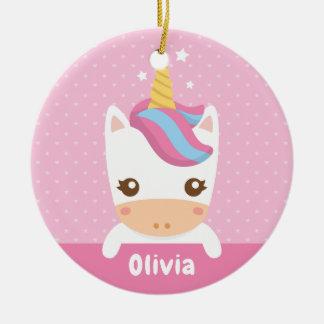 Kawaii Little Unicorn Girls Personalized Ornament
