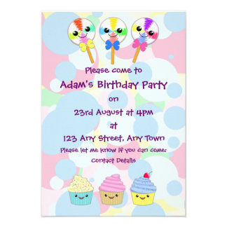 Kawaii Lolly Pops and Cupcakes Children s Party Personalized Invitation