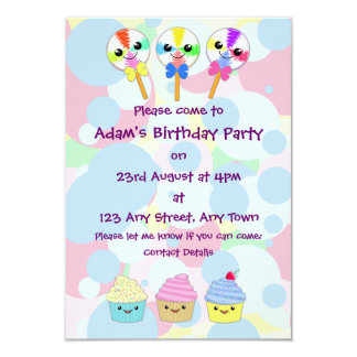 Kawaii Lolly Pops and Cupcakes Children's Party 9 Cm X 13 Cm Invitation Card