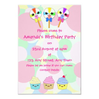 Kawaii Lolly Pops and Cupcakes Children's Party Personalized Invitation