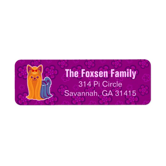 Kawaii Long Hair Yorkie Cartoon Dog Return Address Label