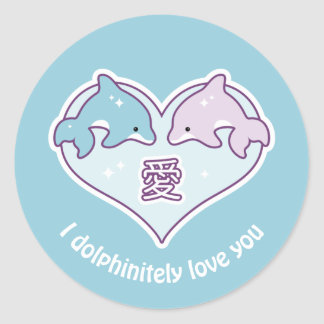 Kawaii Love Dolphins Classic Round Sticker