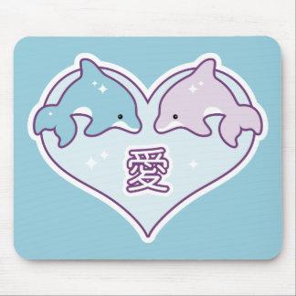 Kawaii Love Dolphins Mouse Pad