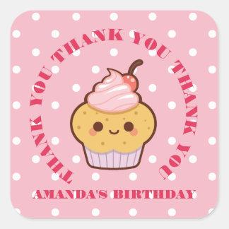 Kawaii Lovely Cupcake Birthday PINK THANK YOU Square Sticker