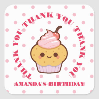 Kawaii Lovely Cupcake Birthday THANK YOU FAVOR Square Sticker