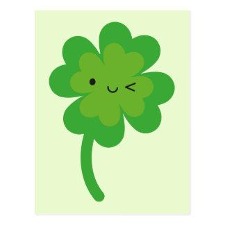Kawaii Lucky Four Leaf Clover Postcard