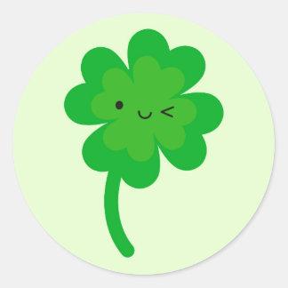 Kawaii Lucky Four Leaf Clover Round Sticker