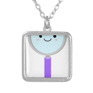 Kawaii magnifying glass silver plated necklace