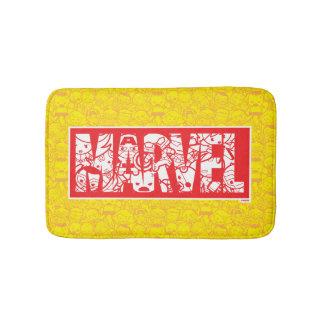 Kawaii Marvel Logo With Super Hero Pattern Bath Mat