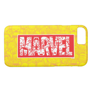 Kawaii Marvel Logo With Super Hero Pattern iPhone 8/7 Case