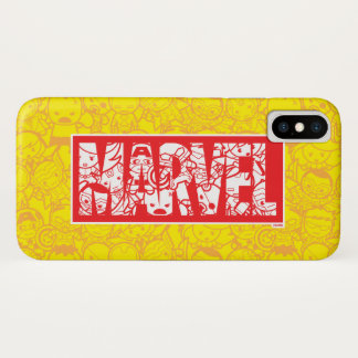 Kawaii Marvel Logo With Super Hero Pattern iPhone X Case