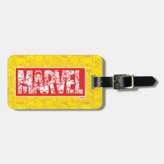 Kawaii Marvel Logo With Super Hero Pattern Luggage Tag