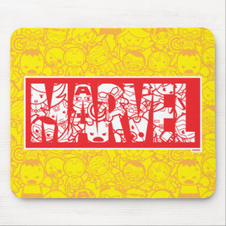 Kawaii Marvel Logo With Super Hero Pattern Mouse Pad