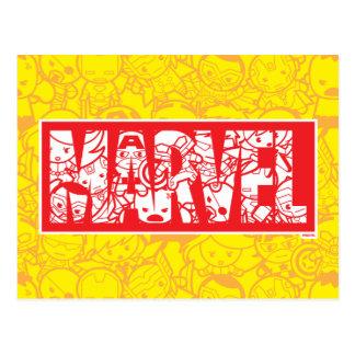 Kawaii Marvel Logo With Super Hero Pattern Postcard