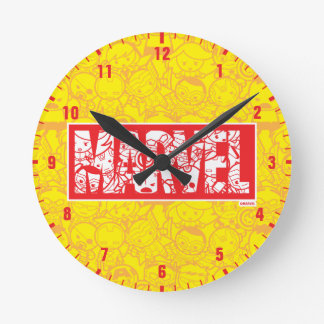 Kawaii Marvel Logo With Super Hero Pattern Round Clock