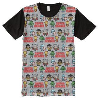 Kawaii Marvel Super Heroes All-Over Print T-Shirt