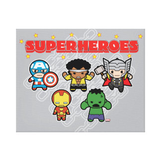 Kawaii Marvel Super Heroes Canvas Print