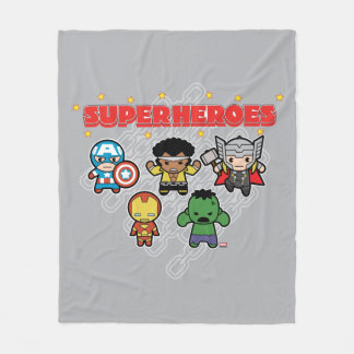 Kawaii Marvel Super Heroes Fleece Blanket