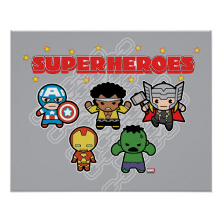 Kawaii Marvel Super Heroes Poster