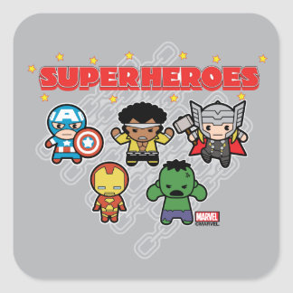 Kawaii Marvel Super Heroes Square Sticker
