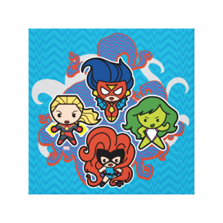 Kawaii Marvel Super Heroines Canvas Print