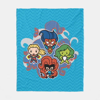 Kawaii Marvel Super Heroines Fleece Blanket