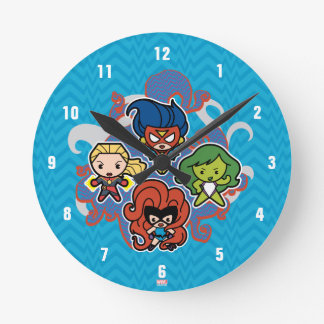 Kawaii Marvel Super Heroines Round Clock