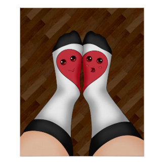 Kawaii Matching Socks Heart Poster