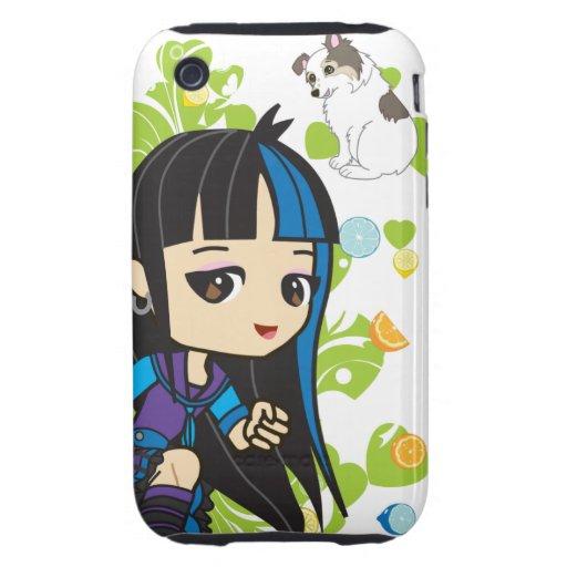 Kawaii Mika the Punk Girl Chibi iPhone 3 Tough Cases