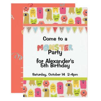 Kawaii Monster Birthday Party Invitation