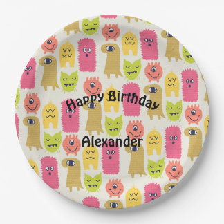 Kawaii Monster Birthday Party Plate
