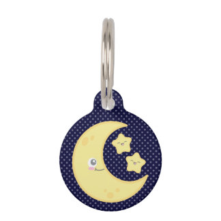 Kawaii Moon and Stars Dog Tag