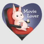 Kawaii movie theatre bunny rabbit heart sticker