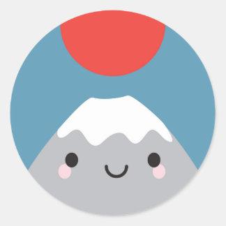 Kawaii Mt Fuji San Round Sticker