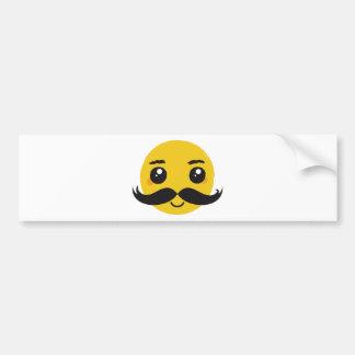 Kawaii Mustache Smiling Bumper Sticker