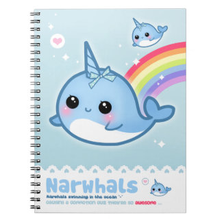 Kawaii narwhals notebook