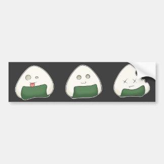 Kawaii Onigiri Faces Bumper Sticker