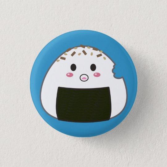 """Kawaii """"Onigiri"""" Rice Ball with Bitemark 3 Cm Round Badge"""