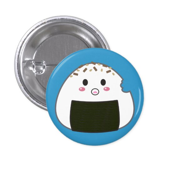 "Kawaii ""Onigiri"" Rice Ball with Bitemark 3 Cm Round Badge"