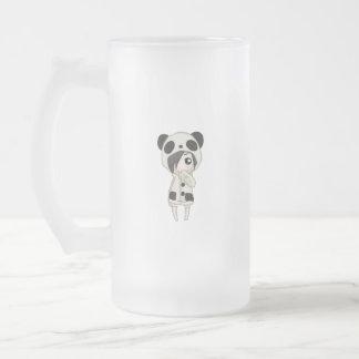 Kawaii Panda Girl Frosted Glass Beer Mug