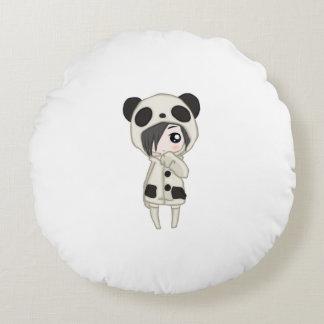 Kawaii Panda Girl Round Cushion