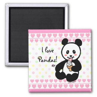Kawaii Panda Ice Cream Cartoon Hearts Square Magnet