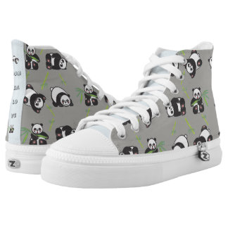 Kawaii Panda Love - HiTop Shoes Printed Shoes