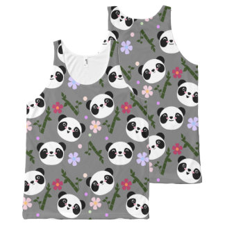 Kawaii Panda on Gray All-Over Print Singlet