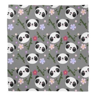 Kawaii Panda on Gray Bandana