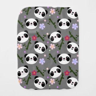 Kawaii Panda on Gray Burp Cloth