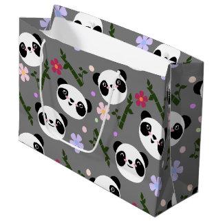 Kawaii Panda on Gray Large Gift Bag
